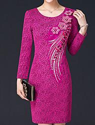 baratos -Mulheres Moda de Rua / Sofisticado Bainha Vestido - Renda / Com Miçangas / Bordado, Sólido Acima do Joelho