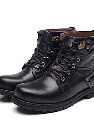 Недорогие -Муж. Армейские ботинки Кожа Осень / Зима Винтаж Ботинки Сапоги до середины икры Черный / Темно-русый / Темно-коричневый