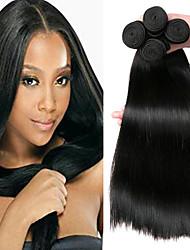 Недорогие -4 Связки Индийские волосы / Африканские косы Прямой Необработанные / Натуральные волосы Подарки / Косплей Костюмы / Человека ткет Волосы 8-28 дюймовый Естественный цвет Ткет человеческих волос
