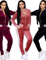 economico -Per donna Sexy 2pcs Tuta da ginnastica - Nero, Rosa, Borgogna Gli sport Strisce Velluto Giacca di pelle / Pantaloni intrecciati Yoga, Corsa, Fitness Manica lunga Abbigliamento sportivo Tenere al