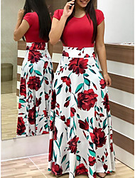 baratos -Mulheres Moda de Rua Elegante Rodado Vestido - Estampado, Poá Floral Longo