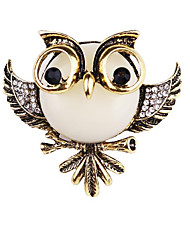 cheap -Women's AAA Cubic Zirconia Vintage Style / Stylish Brooches - Imitation Diamond Bird, Owl Vintage, Princess Lolita, Fashion Brooch Gold / Black / Silver / Black / White / Sliver For Daily / Holiday
