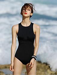 cheap -Women's One Piece Swimsuit Breathable, Comfortable Elastane / Terylene Sleeveless Swimwear Beach Wear Swimwear Solid Colored Swimming / Stretchy