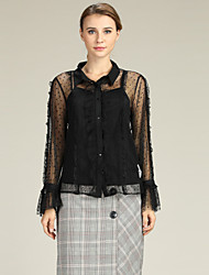 cheap -Suzanne Betro Women's Business / Active Blouse - Polka Dot Lace Trims