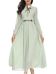 Недорогие -Жен. С летящей юбкой Платье - Однотонный Вырез под горло Макси