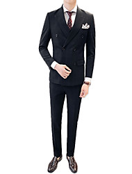 cheap -Men's Suits-Plaid Peaked Lapel / Long Sleeve
