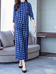 abordables -Mujer Chic de Calle / Sofisticado Conjunto - Geométrico / Cuadrícula, Separado Pantalón