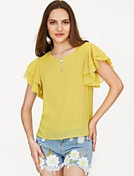 Недорогие -женская лепестковая втулка полиэфирная свободная блузка - прочная, основная