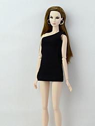 Недорогие -Платья Платья Для Кукла Барби Черный Эластичный сатин / Хлопко-полимерная смешанная ткань Платье Для Девичий игрушки куклы