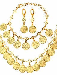 cheap -Women's Hollow Out / Link / Chain Jewelry Set - Platinum Plated, Gold Plated Clover Classic, Hyperbole, Fashion Include Necklace / Earrings / Bracelet Gold / Silver For Gift / Ceremony