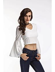 baratos -Mulheres Camiseta Com Transparência, Sólido