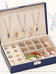 Недорогие -Место хранения организация Ювелирная коллекция Кожа PU Прямоугольная форма Портативные