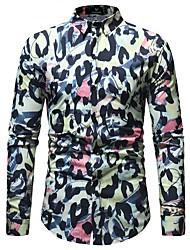 Недорогие -Муж. С принтом Рубашка Классический Геометрический принт / Леопард