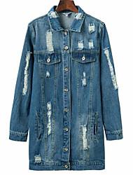 Недорогие -Жен. Повседневные Классический Обычная Джинсовая куртка, Однотонный Рубашечный воротник Длинный рукав Полиэстер Темно синий S / M / L