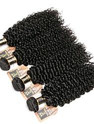 baratos -4 pacotes Cabelo Indiano Kinky Curly 8A Cabelo Humano Cabelo Humano Ondulado Cabelo Bundle Um Pacote de Solução 8-28 polegada Côr Natural Tramas de cabelo humano extensão Melhor qualidade Venda
