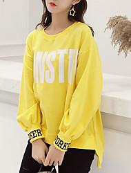povoljno -ženska majica s dugim rukavima - pismo okruglih vrata