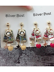 cheap -Women's Cubic Zirconia Stylish / Braided Drop Earrings - Imitation Pearl Star, Ball Stylish, Sweet, Cute Light Yellow / Red / Green For Gift / Date