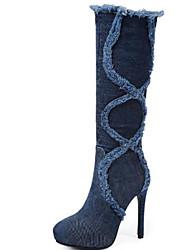 cheap -Women's Cowboy / Western Boots Denim Fall & Winter Boots Stiletto Heel Round Toe Knee High Boots Tassel Black / Blue / Party & Evening