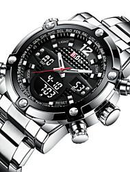 Недорогие -Муж. Спортивные часы Наручные часы Японский Японский кварц 30 m Повседневные часы Cool Нержавеющая сталь Группа Аналого-цифровые Роскошь Мода Серебристый металл - Черный Один год Срок службы батареи