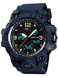 Недорогие -SKMEI Муж. Спортивные часы Армейские часы электронные часы Японский Кварцевый Стеганная ПУ кожа Черный / Серый / Небесно-голубой 50 m Будильник Календарь Секундомер Аналого-цифровые Мода Цветной -