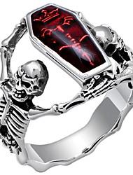 Недорогие -Муж. Заявление 1шт Красный Медь Серебрянное покрытие Массивный Панк Карнавал Профессиональный стиль Бижутерия Ретро Мексиканский сахарный череп Череп