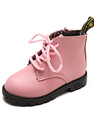 cheap -Girls' Shoes Faux Leather / PU(Polyurethane) Spring &  Fall / Spring & Summer Comfort / Combat Boots Boots Walking Shoes Lace-up / Split Joint for Kids Black / Pink / Light Brown