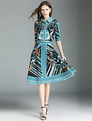 baratos -Mulheres Moda de Rua Camisa Social - Estampado, Geométrica Saia