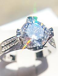 abordables -Femme Solitaire Bague - Platiné, Imitation Diamant Amour Romantique, Mode, Français 6 / 7 / 8 / 9 / 10 Argent Pour Mariage Fiançailles