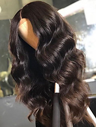 Недорогие -человеческие волосы Remy Лента спереди Парик Бразильские волосы Естественные кудри Парик Средняя часть 130% Плотность волос с детскими волосами Природные волосы Отбеленные узлы Жен. Длинные