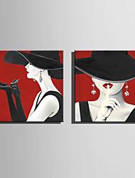 Недорогие -С картинкой Роликовые холсты Отпечатки на холсте - Люди Модерн Modern Репродукции