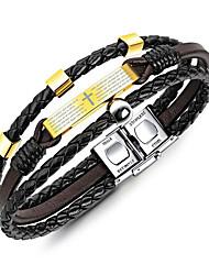 cheap -Men's Braided / Mismatched Cuff Bracelet / Strand Bracelet / Leather Bracelet - 18K Gold Plated, Titanium Steel, Platinum Plated Cross, Creative Stylish, Unique Design, Punk Bracelet Black For Daily