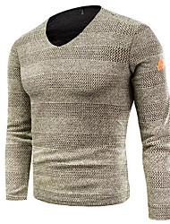 Недорогие -Муж. Длинный рукав Пуловер - Однотонный V-образный вырез