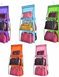 Недорогие -двойная сторона прозрачная 6 карман складная сумочка сумка сумка для хранения различных аккуратный органайзер шкаф вешалка шкаф