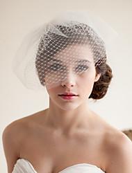 abordables -Deux couches Style vintage / Style classique Voiles de Mariée Voiles Blush avec Couleur Unie Tulle