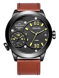 Недорогие -SMAEL Муж. Спортивные часы электронные часы Японский Японский кварц 50 m Защита от влаги Календарь Секундомер PU Группа Аналоговый Мода Черный / Коричневый - Черный Черный / коричневый