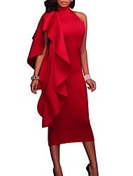 Недорогие -Жен. Для вечеринок На выход Секси Тонкие Облегающий силуэт Платье - Однотонный Вырез под горло До колена Красный