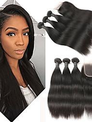 Недорогие -3 комплекта с закрытием Бразильские волосы Прямой 8A Натуральные волосы Накладки из натуральных волос Волосы Уток с закрытием 8-26 дюймовый Ткет человеческих волос 4x4 Закрытие