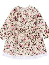 abordables -bébé Fille Actif / Basique Imprimé Dentelle Manches Longues Coton / Polyester Robe Beige 100 / Bébé