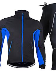 baratos -Nuckily Homens Manga Longa Calça com Camisa para Ciclismo - Vermelho / Verde / Azul Moto Conjuntos de Roupas, Prova-de-Água, Respirável, Tapete 3D, Térmico / Quente, Secagem Rápida, Inverno,  / Tosão