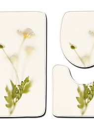 abordables -3 Pièces Moderne Tapis Anti-Dérapants Polyester Elastique Tissé 100g / m2 A Fleur Irrégulier Mignon