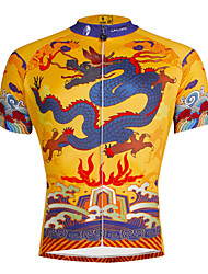 abordables -ILPALADINO Homme Manches Courtes Maillot de Cyclisme - Jaune / noir. Dragon Cyclisme Maillot Hauts / Top, Respirable Séchage rapide Résistant aux ultraviolets Polyester 100 % Polyester Térylène