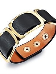 Недорогие -Муж. Классический Кожаные браслеты - Титановая сталь, Позолота Стиль, европейский Браслеты Черный / Оранжевый / Цвет радуги Назначение Для улицы