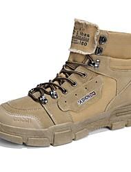 Недорогие -Муж. Армейские ботинки Полотно Осень Классика / Английский Ботинки Массаж Черный / Серый / Хаки