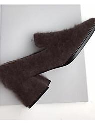 baratos -Mulheres Sapatos de couro Pele de Carneiro Inverno Mocassins e Slip-Ons Salto de bloco Ponta quadrada Botas Curtas / Ankle Preto / Castanho Claro / Castanho Escuro