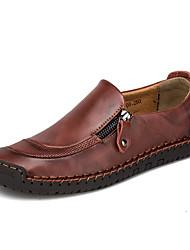 Недорогие -Муж. Комфортная обувь Наппа Leather / Кожа Весна лето Мокасины и Свитер Черный / Темно-русый / Темно-коричневый