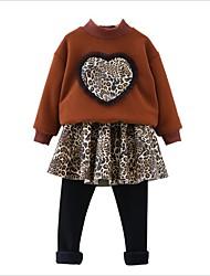 Недорогие -Дети / Дети (1-4 лет) Девочки Леопард Длинный рукав Набор одежды