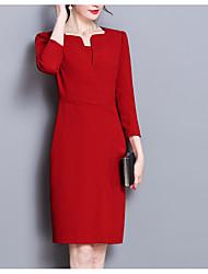Недорогие -Жен. Большие размеры Офис Хлопок Тонкие Оболочка Платье - Однотонный До колена Черный Красный