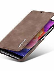 Недорогие -Кейс для Назначение Huawei P20 / P20 Pro / P20 lite Кошелек / Бумажник для карт / Защита от удара Чехол Однотонный Твердый Кожа PU для Huawei P20 / Huawei P20 Pro / Huawei P20 lite