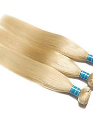 baratos -3 pacotes Cabelo Brasileiro Liso 10A Cabelo Virgem Cabelo Natural Remy Precolored Tece cabelo 10-26 polegada Loiro Tramas de cabelo humano Fabrico à Máquina Melhor qualidade 100% Virgem Extensões de