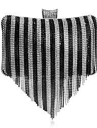 abordables -Femme Sacs Polyester / Alliage Sac de soirée Détail Cristal Arc-en-ciel / Argent / Noir / blanc